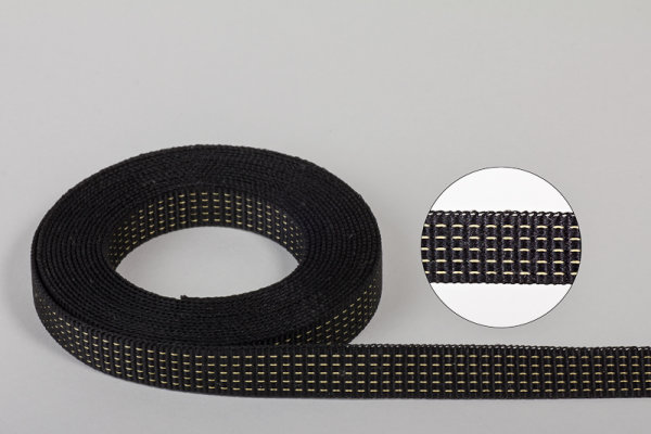 Gurtband erwilo schwarz mit gelben Kennstreifen 15 x 1,2 mm