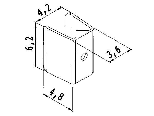 Kordelklammer Metall 6,2 mm glatt