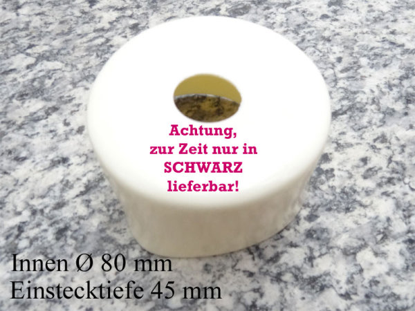 PVC-Kappe Leitrohrabdeckung SCHWARZ 80 x 45 mm