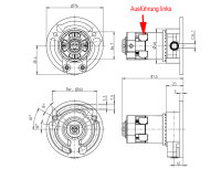Kegelradgetriebe 2:1 links für 40er Welle
