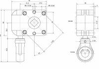 Schneckengetriebe 7:1, 38 mm, 13 mm Abtrieb, PVC Oese