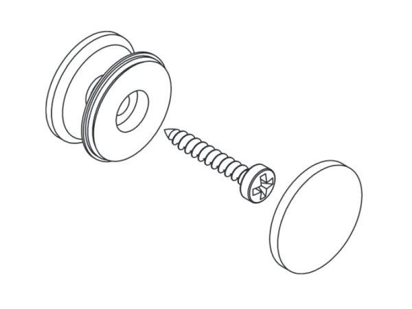 Klemmknopf mit Deckel und Schraube Kunststoff weiss
