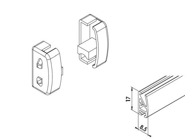 Endkappe für Unterleiste 17 x 8,5 mm