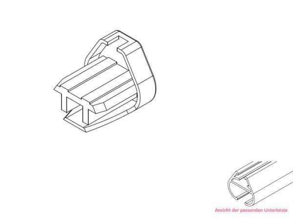 Endkappe für ovale Unterleiste Aluminium