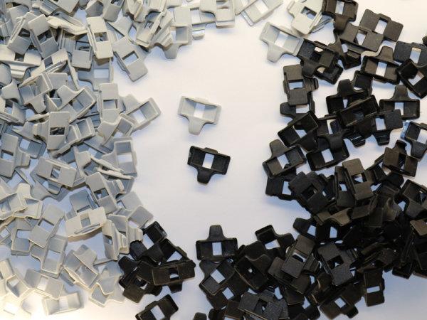 Texbandschutzöse mit Leiterstegklemme schwarz oder grau