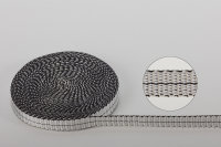 Dyneema®-Gurtband 10  x 1 mm silber mit schwarzem...