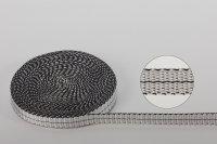 Dyneema®-Gurtband 8  x 1 mm silber mit schwarzem...