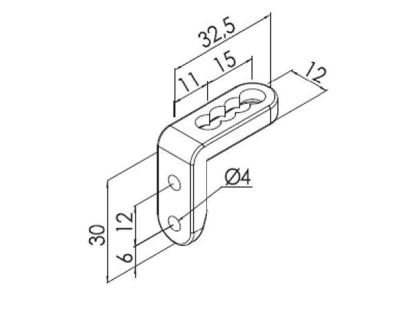 Winkel Kunststoff bis 3 mm Drahtstärke